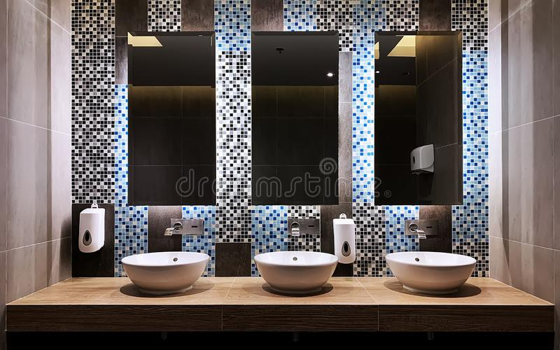 In front of the hand wash bar with mirror glass royalty free stock photo