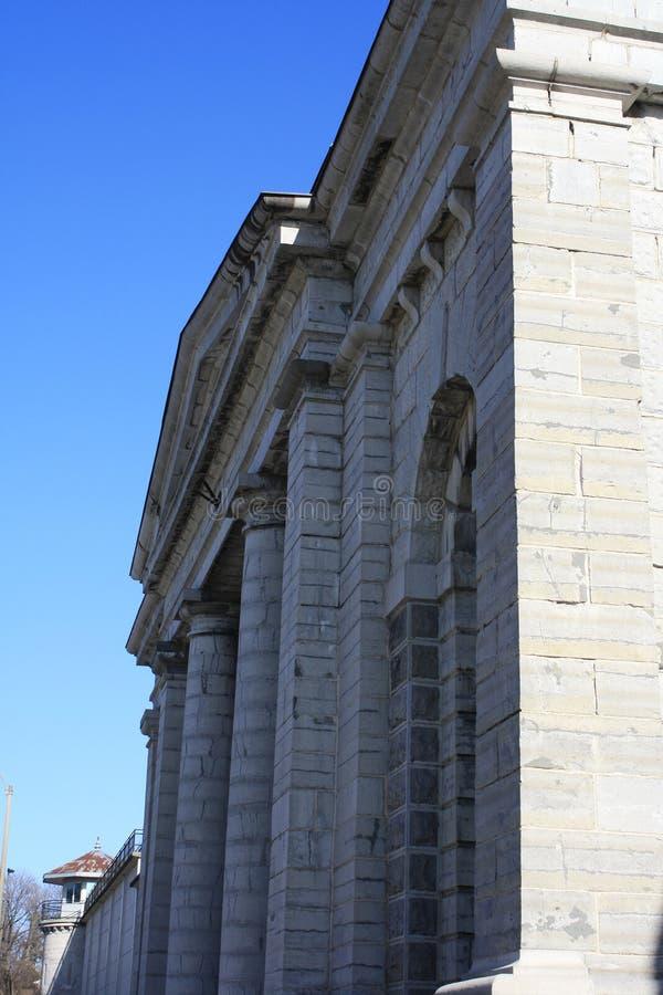 Front Historic Jail Prison Limestone-Stein lizenzfreies stockbild