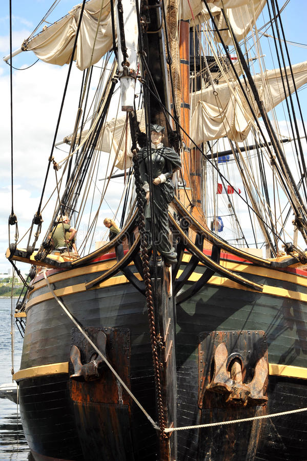Front of HMS Bounty with figurehead royalty free stock photo