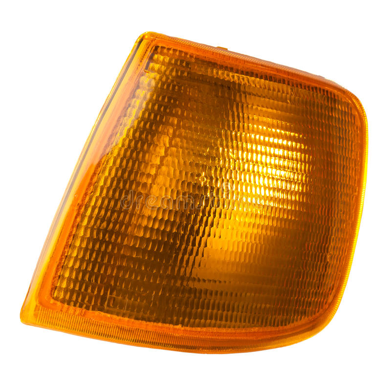 Front indicator lamp. Front turn signal lamp with a yellow plastic glass stock photography