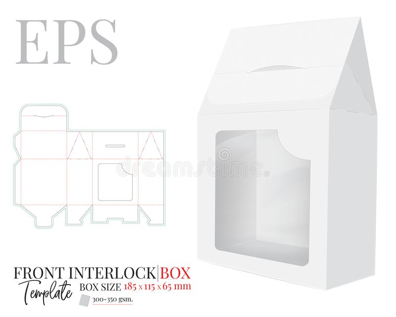 Front interlock Box with window, vector, template with die cut / laser cut lines. White, clear, blank, isolated Gift Box mock up. On white background with vector illustration
