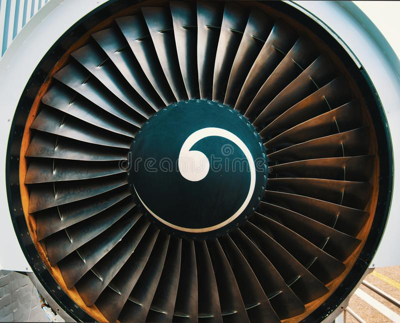 Front of the jet engine of a passenger aircraft, close-up view.  stock image