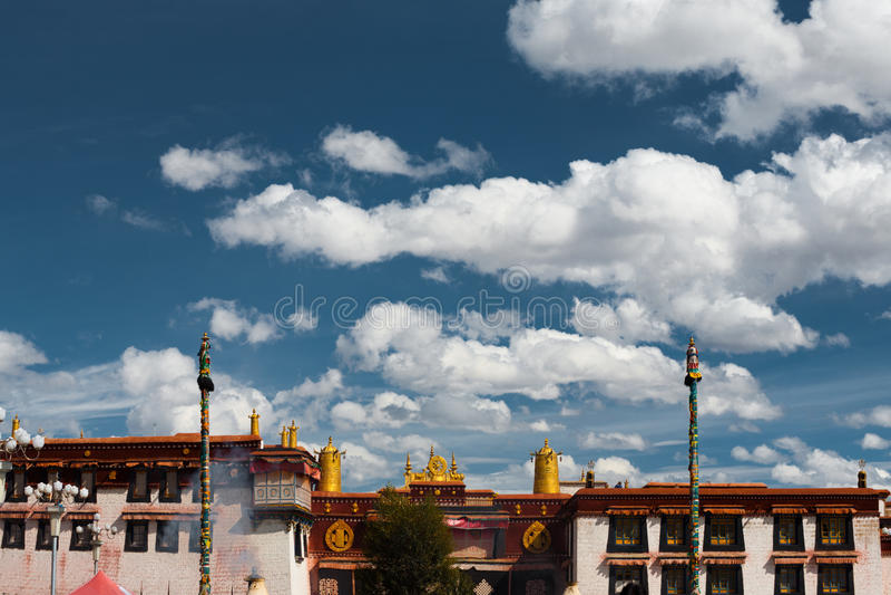 Front Jokhang Temple Blue Sky Lhasa Tibet royalty free stock photo