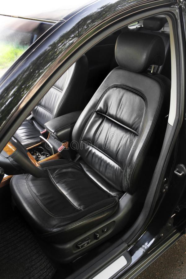 Front leather car seats royalty free stock photography