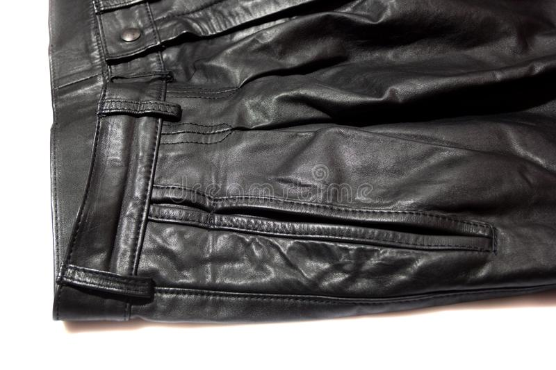 Front of leather trousers. On white background royalty free stock photo