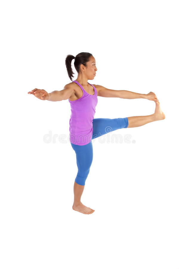 Front leg out yoga blue stock photos