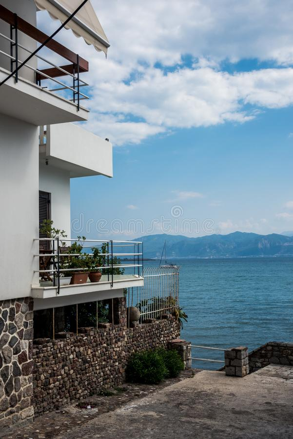 Picturesque city of Nafpaktos, Mainland Greece. Front line houses from city Nafpaktos, Mainland Greece royalty free stock photo