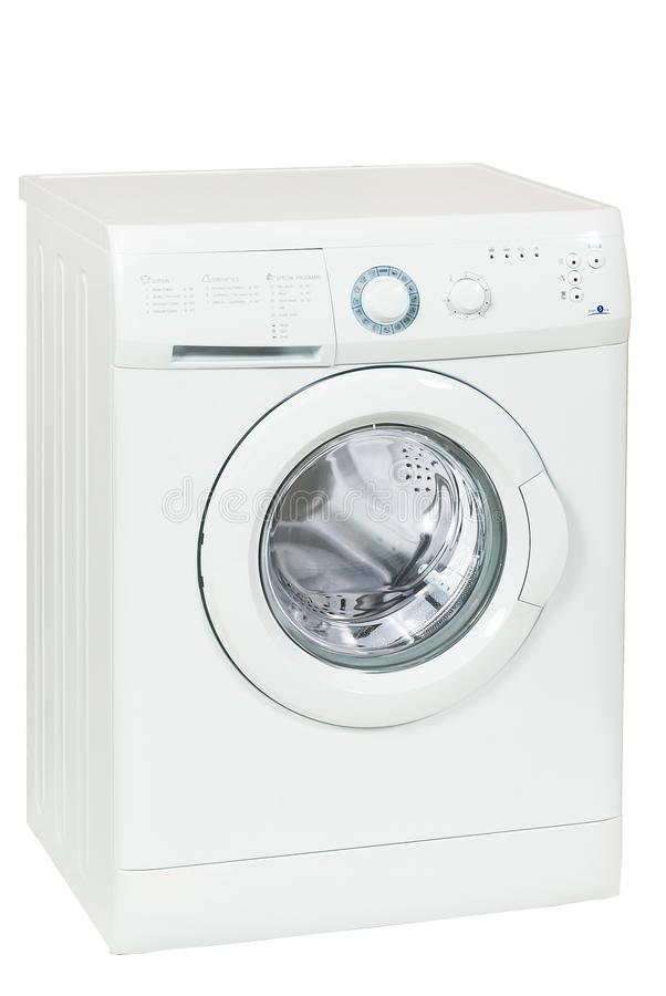 Front Load Washing Machine Isolated branco no fundo branco Agregado familiar e dispositivo doméstico foto de stock royalty free