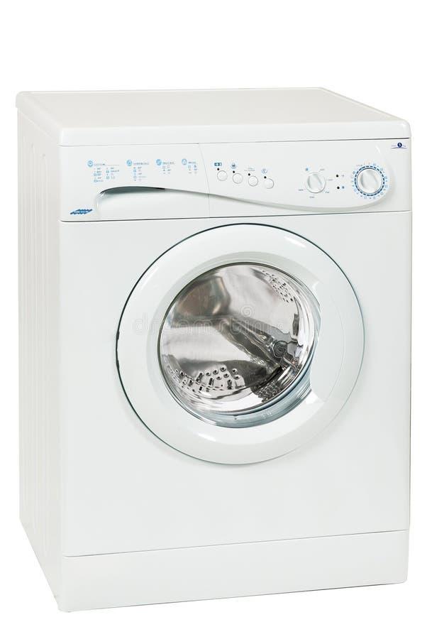 Front Load Washing Machine Isolated branco no fundo branco Agregado familiar e dispositivo doméstico imagem de stock royalty free