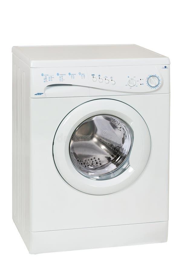 Front Load Washing Machine Isolated branco no fundo branco Agregado familiar e dispositivo doméstico imagem de stock