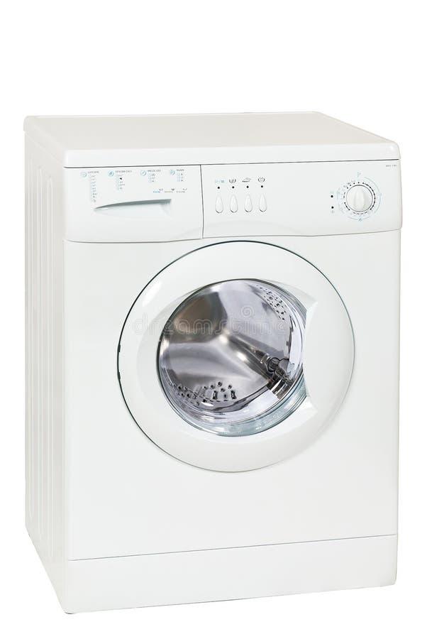 Front Load Washing Machine Isolated branco no fundo branco Agregado familiar e dispositivo doméstico imagens de stock royalty free