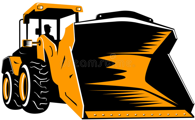 Front loader isolated on white vector illustration