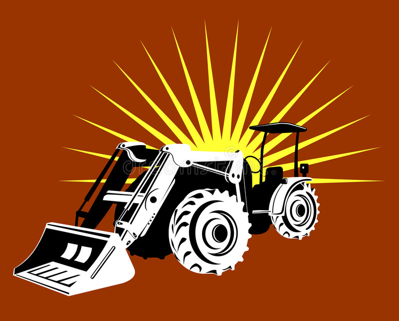 Download Front loader with sunburst stock vector. Image of industry - 4273800