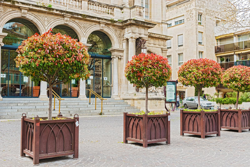In front of main entrance to Opera Theatre in Avignon. France royalty free stock images