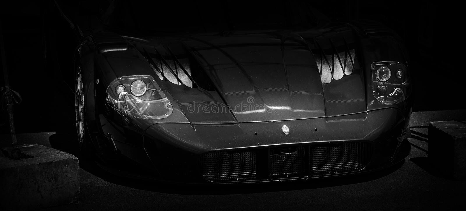The front of a racing car. The front of a Maserati MC12 Le Mans racing car stock photos