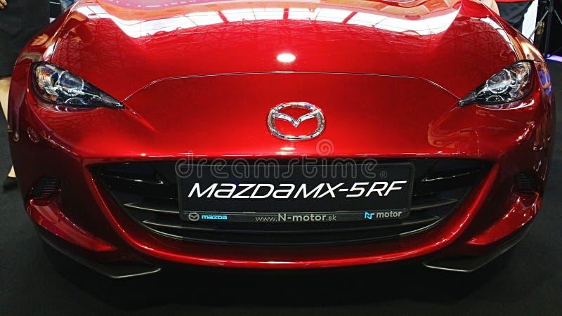 Front mask of modern japanese sport roadster Mazda MX-5 RF stock photos