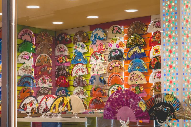 Front of a multicolor fan shop in the historic center of Toledo stock photos