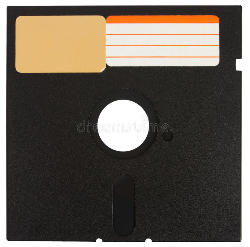 Front o a black floppy disk. Front of a black floppy disk with labels over a white background stock photography