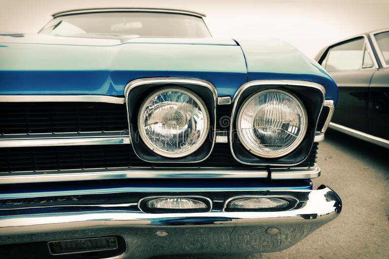 Front of old car, retro royalty free stock image
