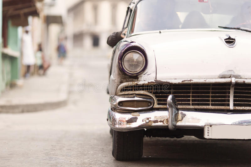Front of old car on street of Havana, Cuba.  royalty free stock photography