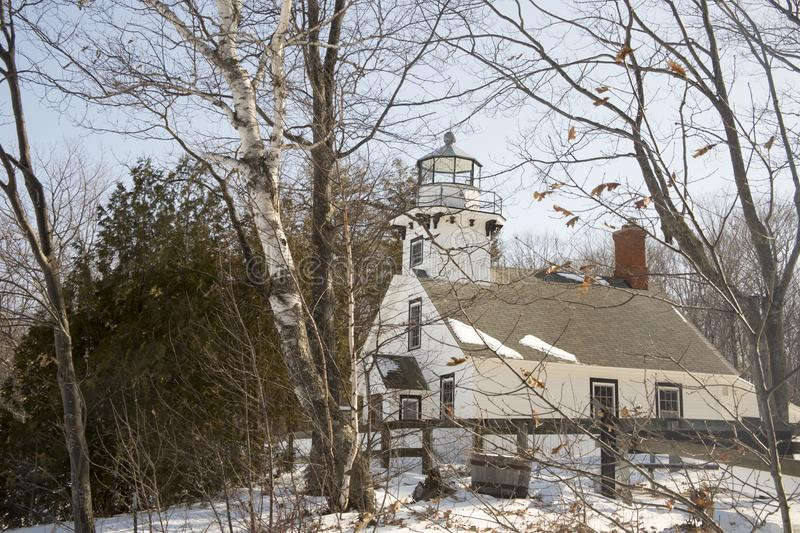 Front of Old Mission Lighthouse, Traverse City, Michigan in win. Exterior of Old Mission Lighthouse in Traverse CIty, Michigan in winter stock image