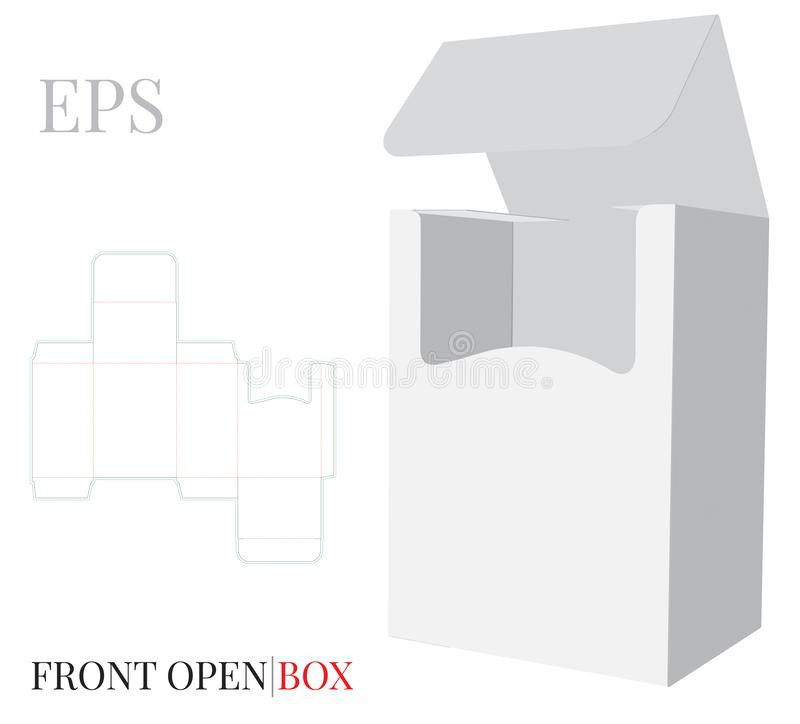 Front Open Box Template with die cut lines. Vector with die cut / laser cut layers. White, clear, blank isolated Paper Box mock up vector illustration