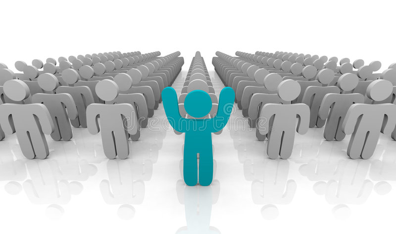 In Front of the Pack. An individual standing at the front of the group with arms raised to stand out royalty free illustration