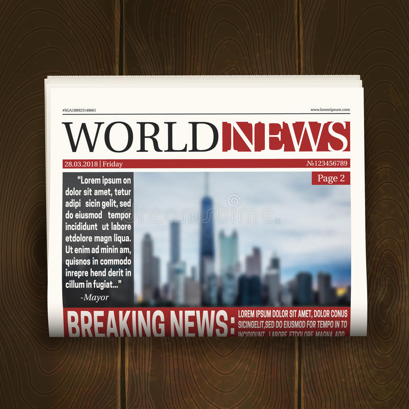 Front Page Newspaper Realistic Poster. Newspaper front page design poster with world breaking news headlines on dark wood background realistic vector royalty free illustration