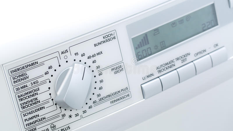 Front panel of a modern washing machine stock photography