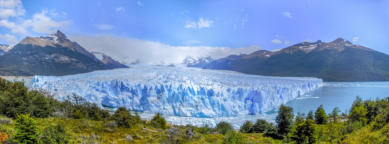 A front panoramic view of the Perito Moreno glacier royalty free stock images