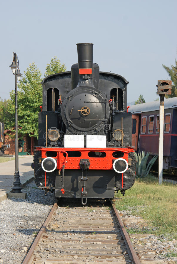 Front part of an ancient locomotive stock photos