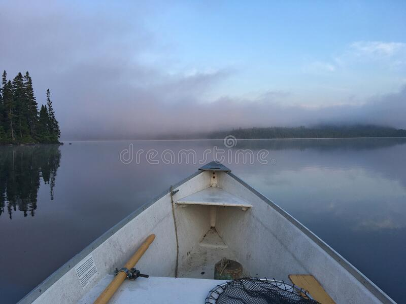 Front part of a fishing boat on a pretty wild lake in Canada stock photo