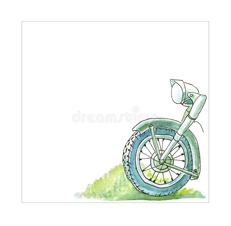 Front part of a retro motorcycle on a white background to de royalty free illustration