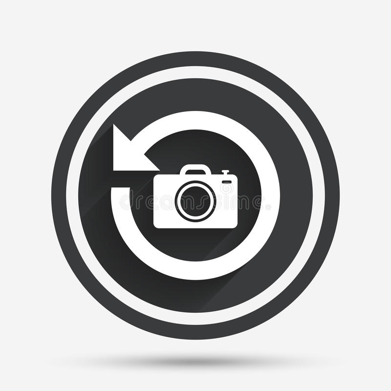 Front photo camera sign icon. Change symbol. Front photo camera sign icon. Digital photo camera symbol. Change front to back. Circle flat button with shadow and stock illustration