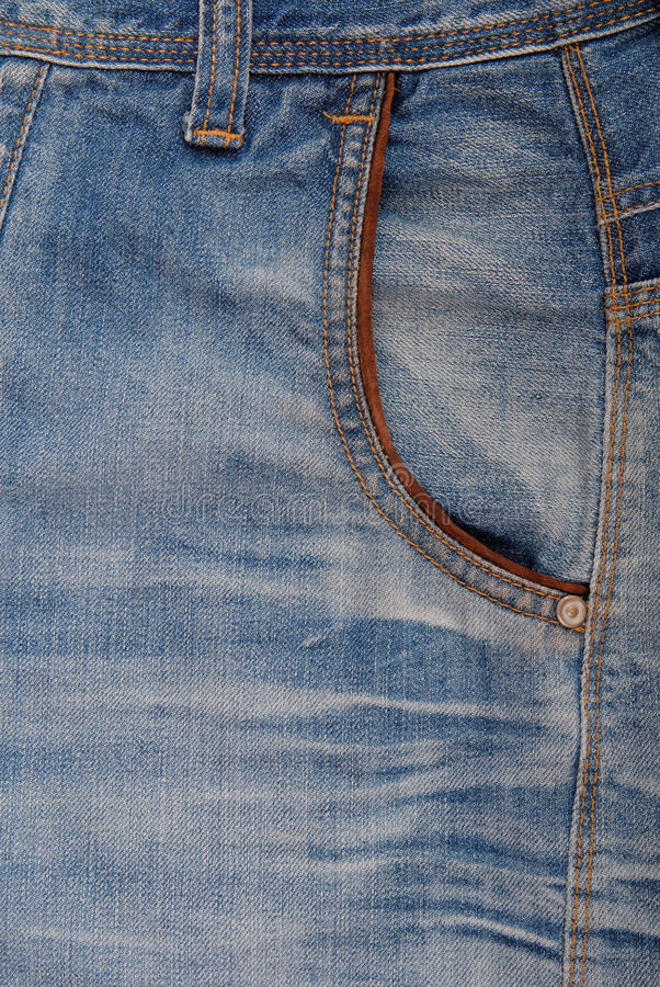 Front pocket of jeans stock photo