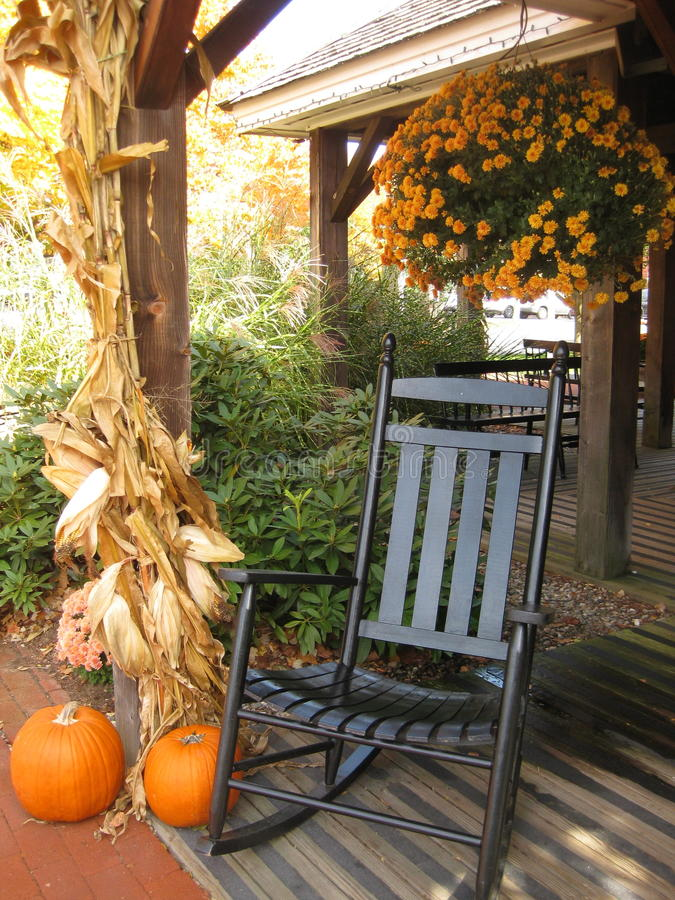 Front Porch in Autumn stock images