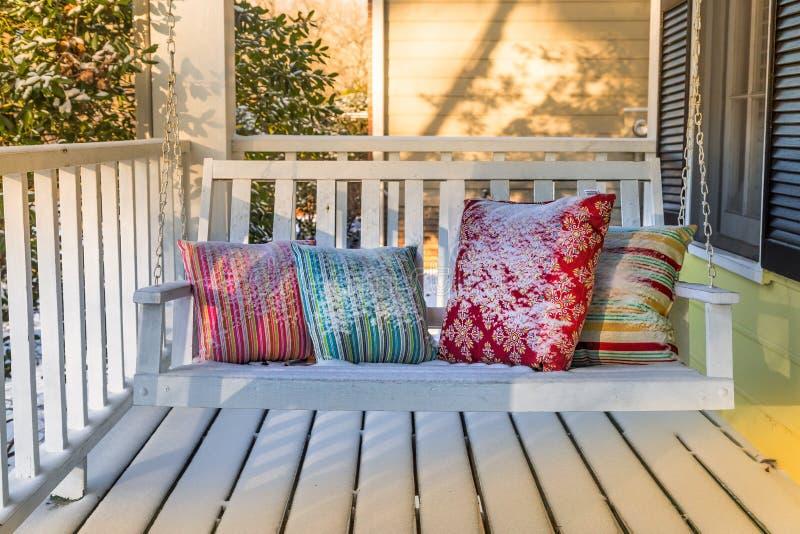 Front Porch innevato fotografie stock