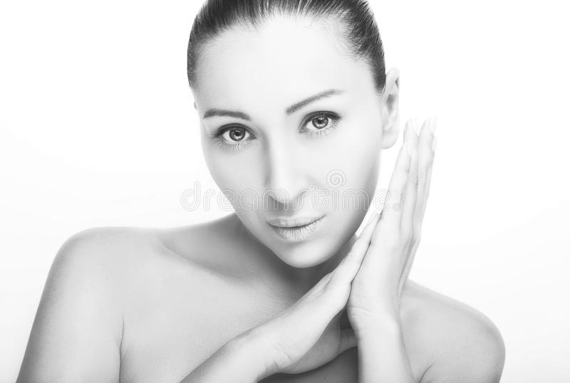 Front portrait of beautiful face with beautiful eyes - isolated on white stock photo