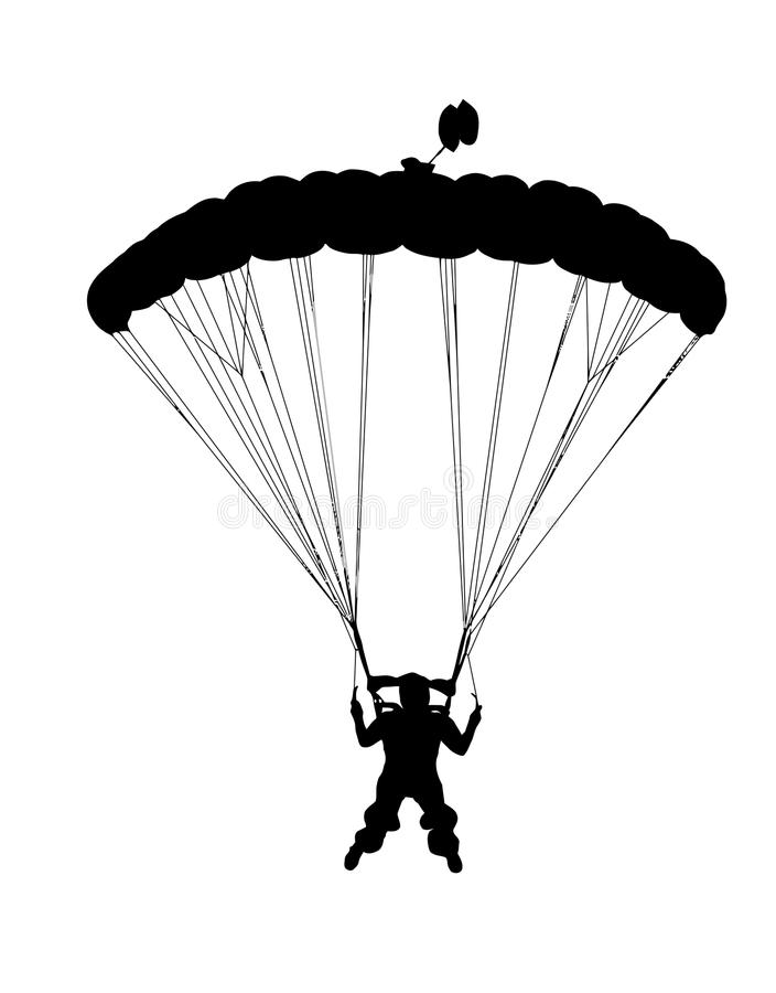 Free Front Profile Silhouette Of Sky Diver With Open Parachute Royalty Free Stock Photography - 95937487