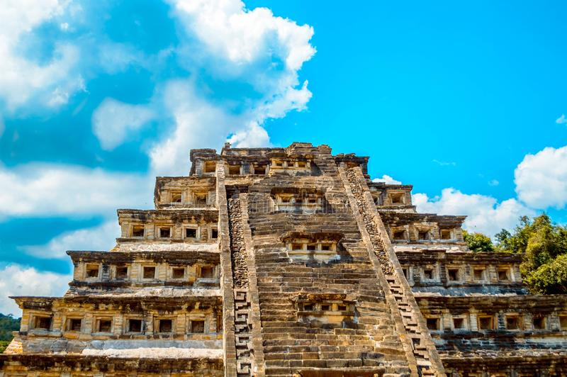 Front of the pyramid of niches. In the tajin located in Papantla, Veracruz, Mexico stock images