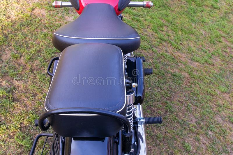 Front and Rear seats of motorbike stock image