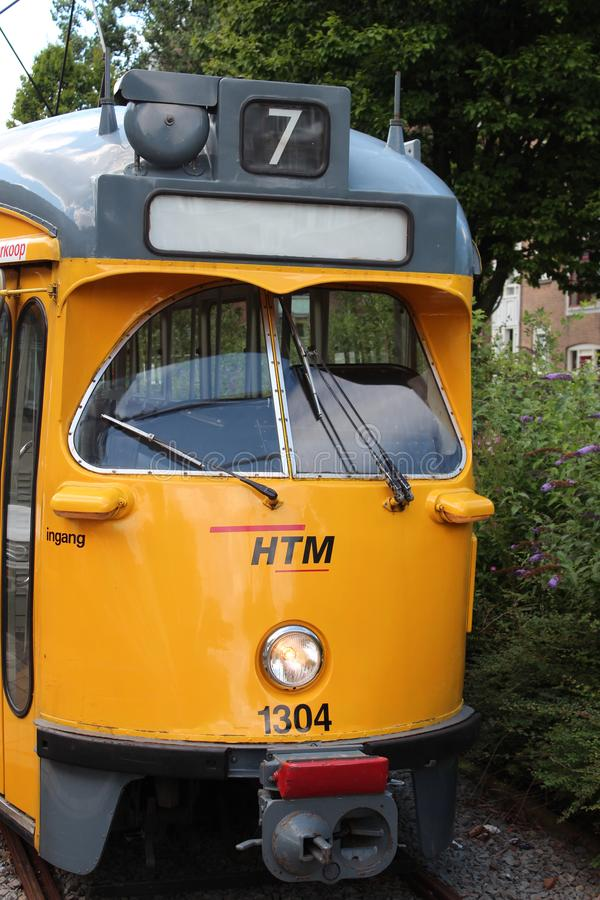 Front of the retired PCC street car in The Hague, The Netherlands royalty free stock photo
