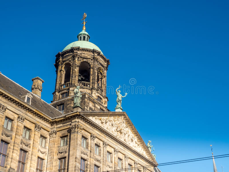 Front of Royal palace in Amsterdam. The front of Royal Palace at the Dam Square, Amsterdam, built as city hall during the Dutch Golden Age in the seventeenth royalty free stock photos