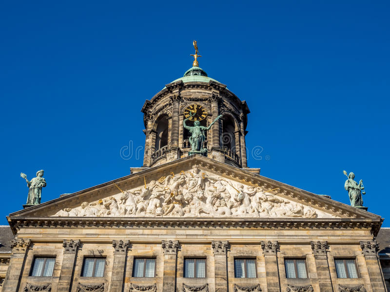 Front of Royal palace in Amsterdam. The front of Royal Palace at the Dam Square, Amsterdam, built as city hall during the Dutch Golden Age in the seventeenth stock images