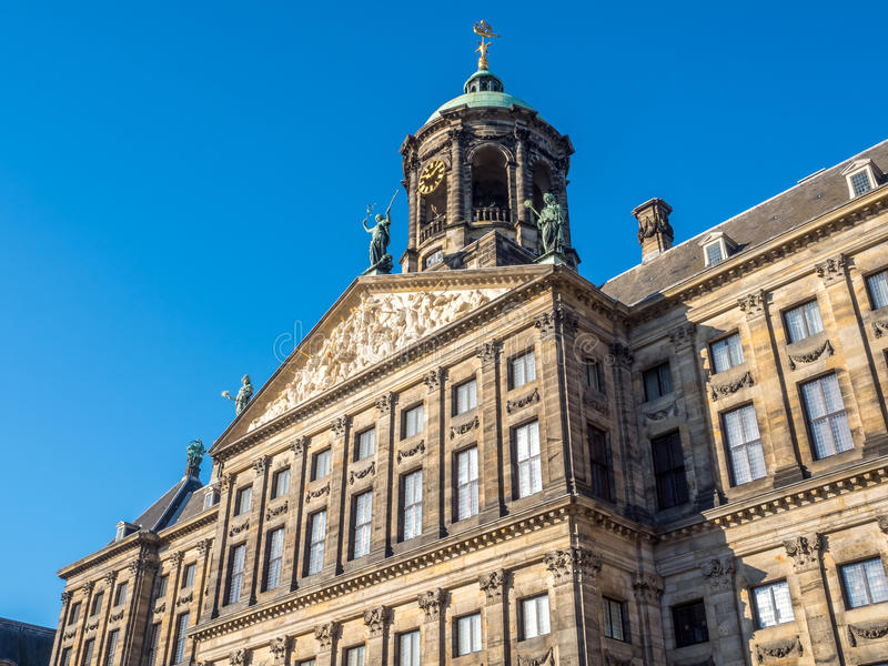 Front of Royal palace in Amsterdam. The front of Royal Palace at the Dam Square, Amsterdam, built as city hall during the Dutch Golden Age in the seventeenth stock photo