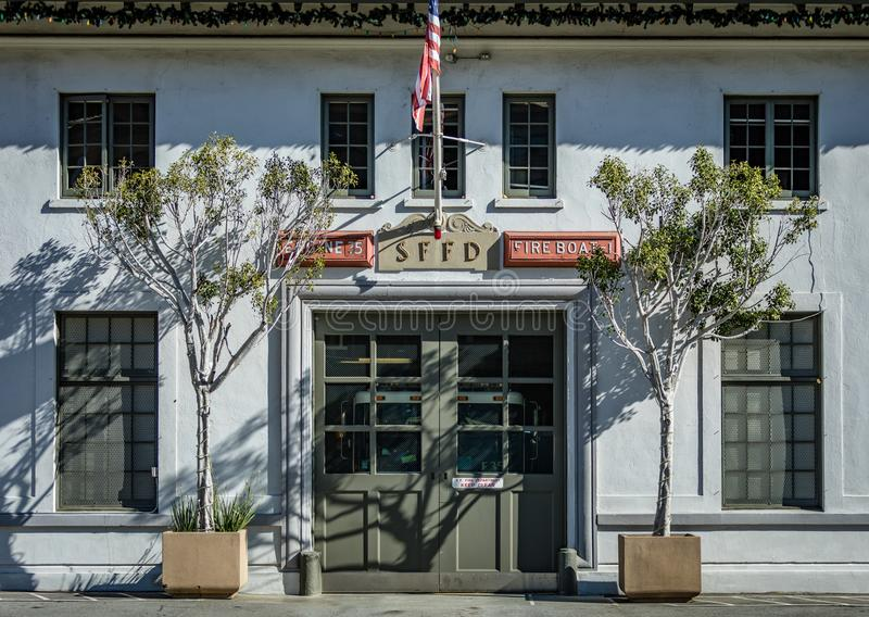 Front of the San Francisco Fire Department on the Embarkadaro stock photos