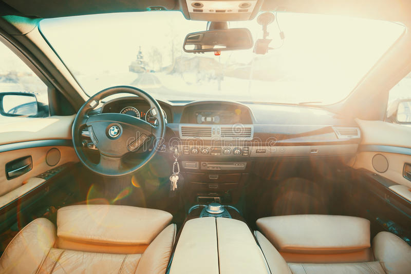 Front seats BMW stock photo