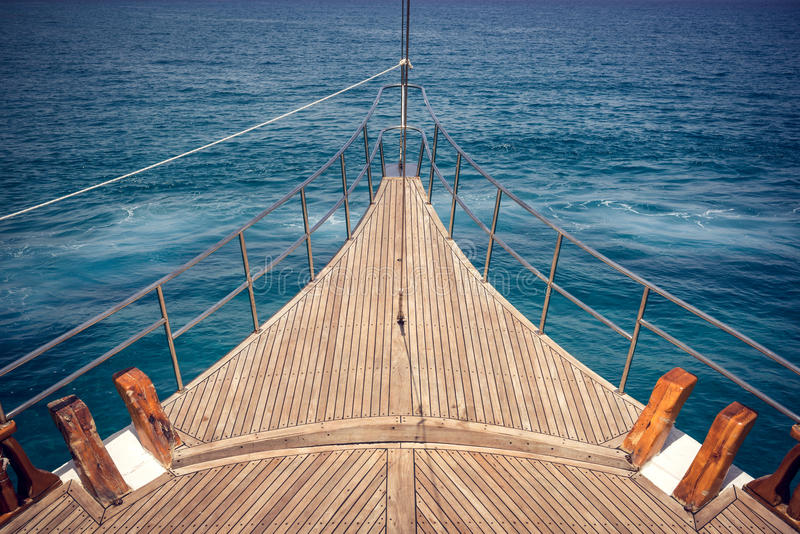 Front ship deck. View of the front ship deck on sea in summer time stock photography