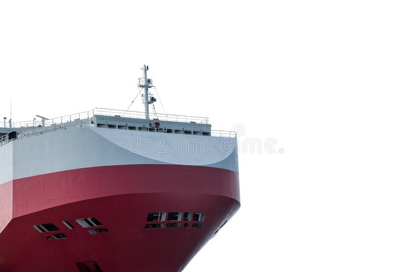 Front ship red and white with antenna and navigation bridge ship. royalty free stock photography