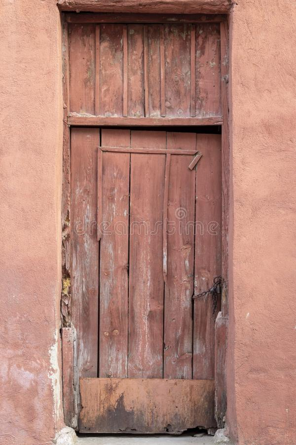 Front shoot of traditional wooden door in turkish village royalty free stock photos